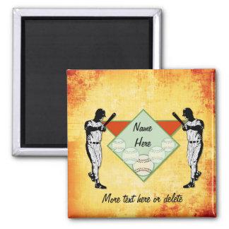 Jugadores de béisbol - personalizar imán cuadrado