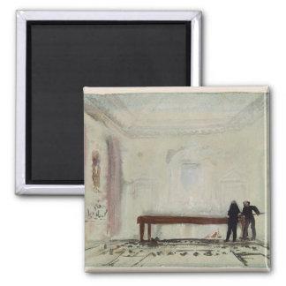 Jugadores de billar en la casa de Petworth, 1830 Imán Cuadrado