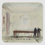 Jugadores de billar en la casa de Petworth, 1830 Calcomanías Cuadradases