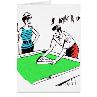 Jugadores de Billards de la mesa de billar del Tarjeta De Felicitación