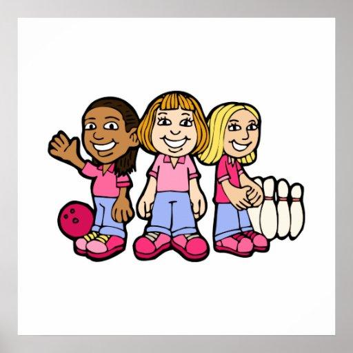 Jugadores de bolos del chica póster
