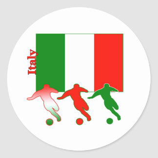 Jugadores de fútbol - Italia Pegatina Redonda