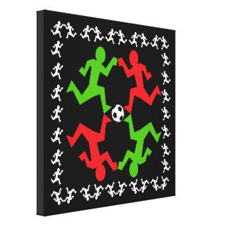 Jugadores de fútbol que corren al modelo de la impresión en lienzo