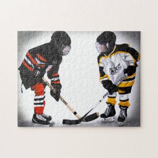 jugadores de hockey de menor importancia en el rompecabeza con fotos