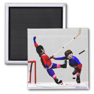 Jugadores de hockey en la acción iman de frigorífico