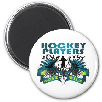 Jugadores de hockey idos salvajes iman de nevera
