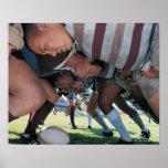Jugadores de la unión del rugbi en un melé impresiones