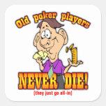 Jugadores de póker colcomanias cuadradass