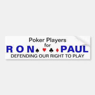 Jugadores de póker para Ron Paul Etiqueta De Parachoque