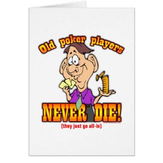 Jugadores de póker tarjeta de felicitación