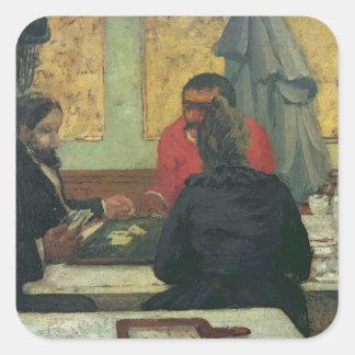Jugadores de tarjeta, 1883 pegatina cuadrada