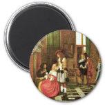 Jugadores de tarjeta de Hooch Pieter De (la mejor Imán Redondo 5 Cm