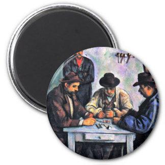 Jugadores de tarjeta de Paul Cézanne (la mejor Imán Redondo 5 Cm