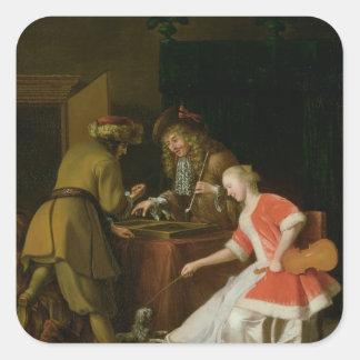Jugadores de Tric-trac con una señora y su perro Pegatina Cuadrada