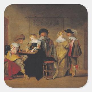 Jugadores del backgammon pegatina cuadrada
