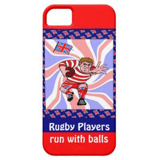 Jugadores del rugbi funcionados con con las bolas iPhone 5 fundas