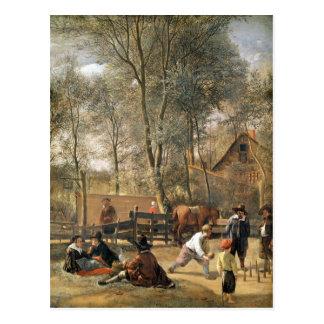 Jugadores fuera de un mesón, c.1660-63 del bolo postal