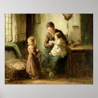 Jugando con el bebé, siglo XIX Póster