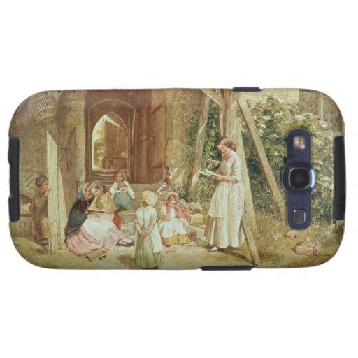 Jugando en las escuelas, 1857 (aceite en el panel) galaxy SIII fundas