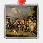 Jugando en los soldados, revolución romana 1848 adorno navideño cuadrado de metal