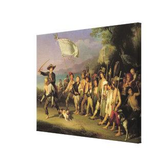 Jugando en los soldados, revolución romana 1848 lienzo envuelto para galerías