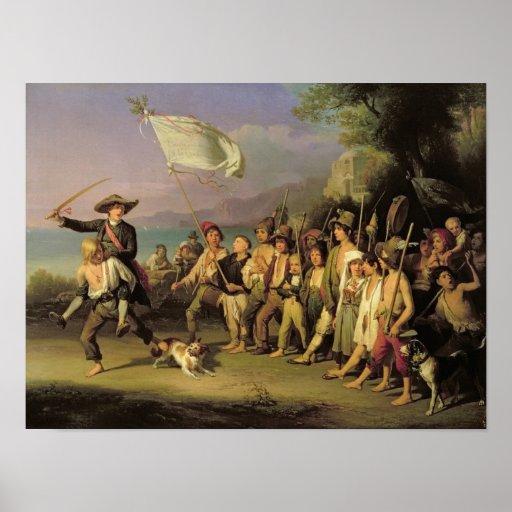 Jugando en los soldados, revolución romana 1848 póster
