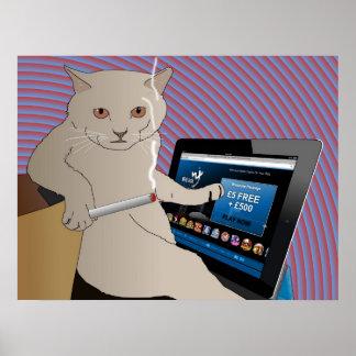 Jugando, gato que fuma que juega el casino del ipa póster