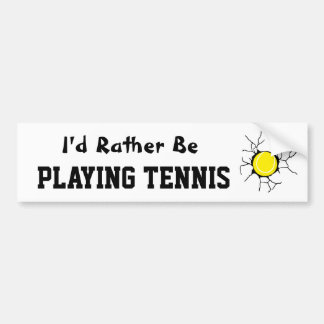Jugar a tenis etiqueta de parachoque