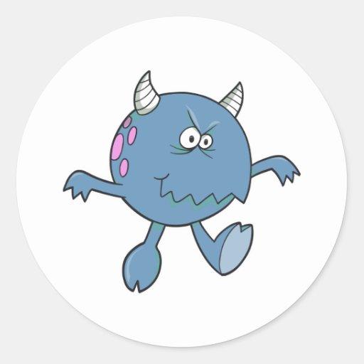 jugar al amigo azulado duro del monstruo pegatinas redondas