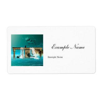Jugar delfínes etiqueta de envío