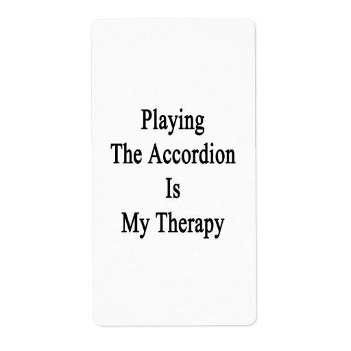 Jugar el acordeón es mi terapia etiquetas de envío
