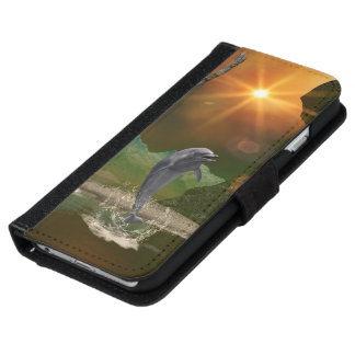 Jugar el delfín en la puesta del sol hermosa funda cartera para iPhone 6