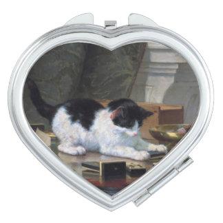 Jugar el gatito de Henriëtte Ronner-Knip Espejo De Viaje
