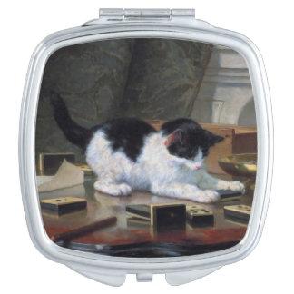 Jugar el gatito de Henriëtte Ronner-Knip Espejos De Maquillaje