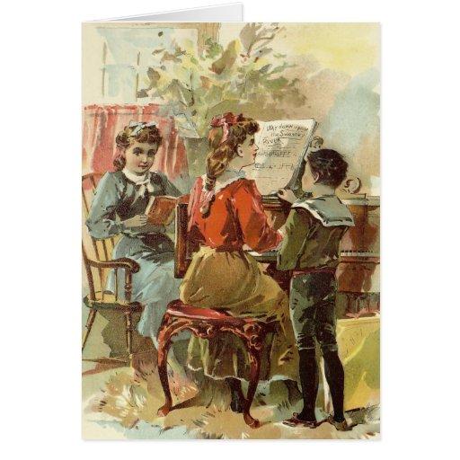 Jugar el piano tarjeta de felicitación