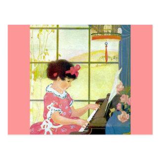 Jugar el piano postal