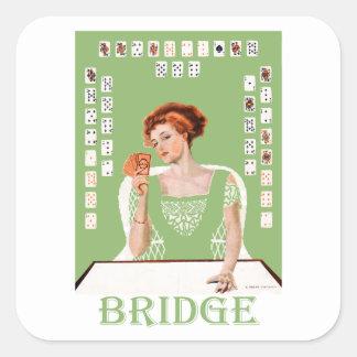 Jugar el puente pegatina cuadrada