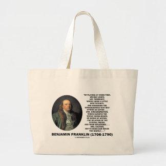 Jugar la cita de Benjamin Franklin de la precaució Bolsas Lienzo