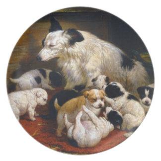Jugar la placa de los perritos plato de cena
