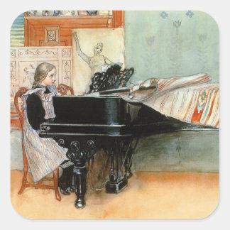 Jugar las escalas 1898 pegatina cuadrada