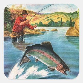 Jugar los pescados pegatina cuadrada