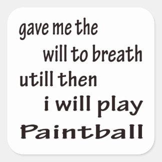Jugaré a Paintball. Pegatina Cuadrada