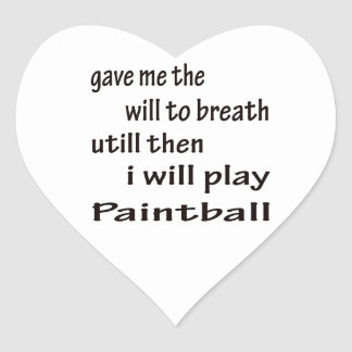 Jugaré a Paintball. Pegatina En Forma De Corazón