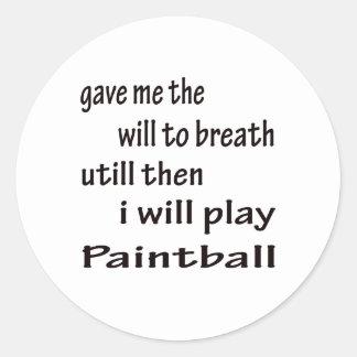Jugaré a Paintball. Pegatina Redonda