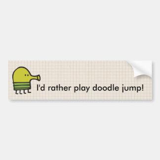 ¡Jugaría bastante salto del doodle! Etiqueta De Parachoque