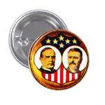 Jugate de McKinley-Roosevelt Pin Redondo 2,5 Cm