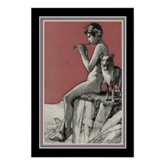 "Jugend Art Nouveau  ""Boy with Fife""  13 x 19 Poster"