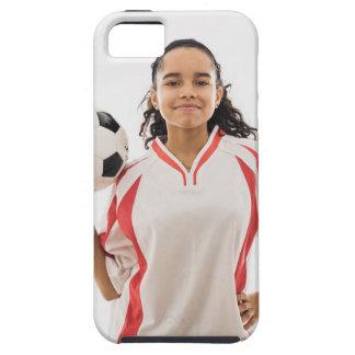 Jugendlich Mädchen, das in der Hand Fußball, Portr iPhone SE/5/5s Case