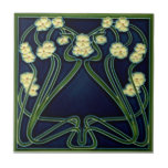 """Jugendstil Art Nouveau Floral Repro Antique Ceramic Tile<br><div class=""""desc"""">Reproduced from an original antique tile, this European Jugendstil floral tile features yellow-eyed white blossoms on a dark blue ground with stylized green stems and frame. Art Nouveau tiles are highly collectible and make great wall and backsplash tiles for kitchen and bath. They can also be used around a fireplace...</div>"""