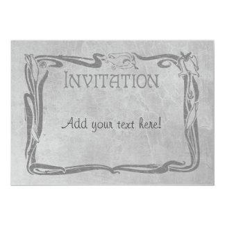 "Jugendstil en gris invitación 5"" x 7"""